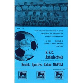ANDERLECHT V NAPOLI 1977 (ECWC SEMI-FINAL) FOOTBALL PROGRAMME