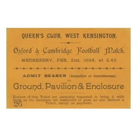 OXFORD V CAMBRIDGE 1894 FOOTBALL TICKET