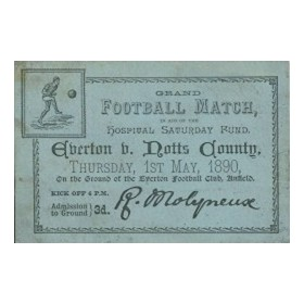EVERTON V NOTTS COUNTY 1890 TICKET