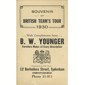 BRITISH LIONS (TOUR OF NEW ZEALAND) 1930 FIXTURE CARD