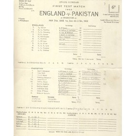 ENGLAND V PAKISTAN 1962 (EDGBASTON) CRICKET SCORECARD