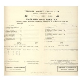 ENGLAND V PAKISTAN 1962 (HEADINGLEY) CRICKET SCORECARD