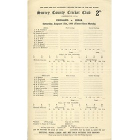 ENGLAND V INDIA 1946 (OVAL) CRICKET SCORECARD