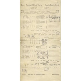 ESSEX V INDIA 1946 CRICKET SCORECARD - INDIA WIN BY 1 WICKET