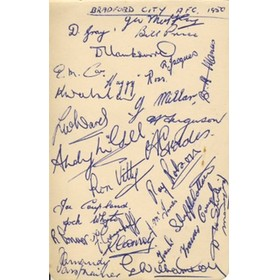 BRADFORD CITY FOOTBALL CLUB 1950 SIGNED ALBUM PAGE