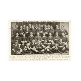 SOUTH AFRICAN RUGBY TEAM 1906-07 RUGBY POSTCARD
