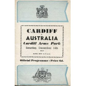 CARDIFF V AUSTRALIA 1957 rugby programme