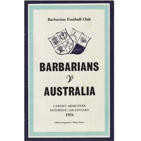 BARBARIANS V AUSTRALIA 1976 RUGBY PROGRAMME