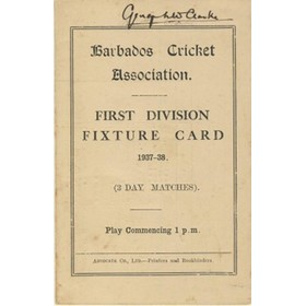 BARBADOS CRICKET SEASON 1937-38 (1ST DIVISION FIXTURE CARD)