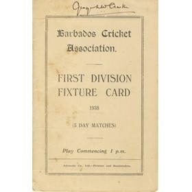 BARBADOS CRICKET SEASON 1938 (1ST DIVISION FIXTURE CARD)