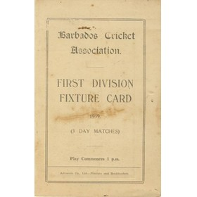 BARBADOS CRICKET SEASON 1939 (FIXTURE CARD)