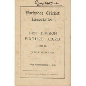 BARBADOS CRICKET SEASON 1936-37 (FIXTURE CARD)