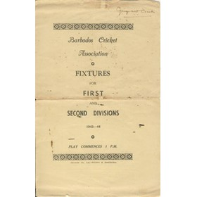 BARBADOS CRICKET SEASON 1943-44 (FIXTURE CARD)