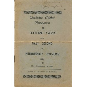 BARBADOS CRICKET SEASON 1940 (FIXTURE CARD)