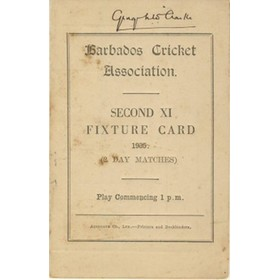 BARBADOS CRICKET SEASON 1935 (SECOND XI FIXTURE CARD)