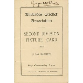 BARBADOS CRICKET SEASON 1938 (2ND DIVISION FIXTURE CARD)