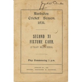 BARBADOS CRICKET SEASON 1931 (FIXTURE CARD)
