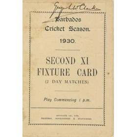 BARBADOS CRICKET SEASON 1930 (2ND XI FIXTURE CARD)