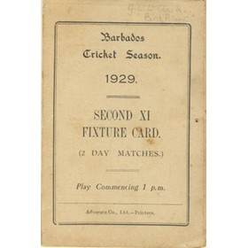 BARBADOS CRICKET SEASON 1929 (2ND XI FIXTURE CARD)