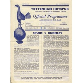 TOTTENHAM HOTSPUR V BURNLEY 1956 FOOTBALL PROGRAMME
