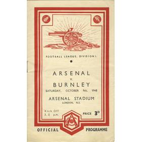 ARSENAL V BURNLEY 1948-49 FOOTBALL PROGRAMME