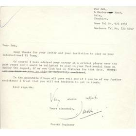 FAROKH ENGINEER (LANCASHIRE & INDIA) SIGNED LETTER