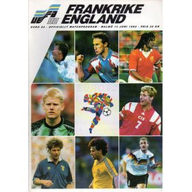 ENGLAND V FRANCE 1992 (EUROPEAN CHAMPIONSHIPS) FOOTBALL PROGRAMME