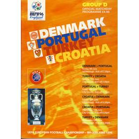 DENMARK V PORTUGAL & TURKEY V CROATIA 1996 (EURO 96 GROUP D) FOOTBALL PROGRAMME