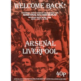 ARSENAL V LIVERPOOL 1980 (F.A. CUP SEMI-FINAL SECOND REPLAY) FOOTBALL PROGRAMME