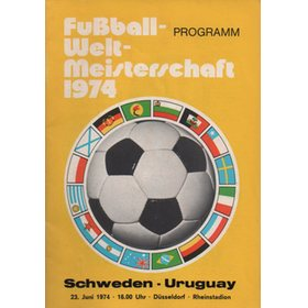 SWEDEN V URUGUAY 1974 (WORLD CUP) FOOTBALL PROGRAMME