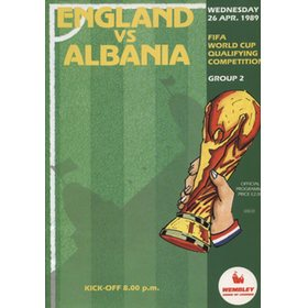 ENGLAND V ALBANIA 1989 (WORLD CUP QUALIFIER) FOOTBALL PROGRAMME