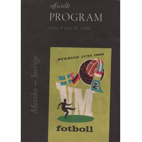 MEXICO V SWEDEN 1958 (WORLD CUP GROUP 3 MATCH) FOOTBALL PROGRAMME
