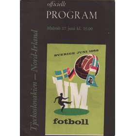 CZECHOSLOVAKIA V NORTHERN IRELAND 1958 (WORLD CUP GROUP 1 PLAY-OFF) FOOTBALL PROGRAMME
