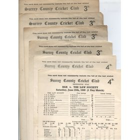 BAR CRICKET SCORECARDS 1950S (THE OVAL)