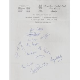 CAMBRIDGE UNIVERSITY XI 1983 autograph sheet
