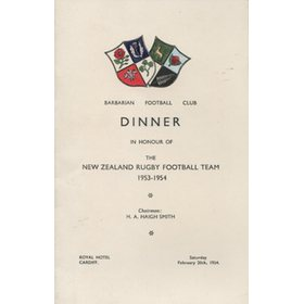 BARBARIANS V NEW ZEALAND 1954 DINNER MENU