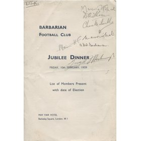 BARBARIANS JUBILEE DINNER 1939 MENU CARD