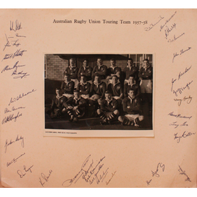 AUSTRALIAN TOURING TEAM 1957-58 SIGNED RUGBY PHOTOGRAPH