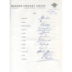 BORDER CRICKET UNION 1983