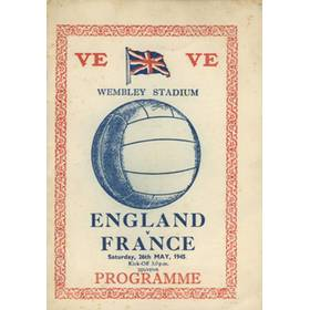 ENGLAND V FRANCE 1945 (SOUVENIR CARD) FOOTBALL PROGRAMME