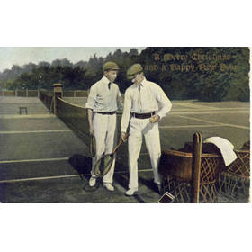 TWO MEN PREPARING FOR A GAME OF TENNIS