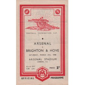ARSENAL V BRIGHTON AND HOVE ALBION 1947-48 FOOTBALL PROGRAMME (championship season)