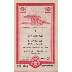 ARSENAL V CRYSTAL PALACE 1947-48 FOOTBALL PROGRAMME (championship season)