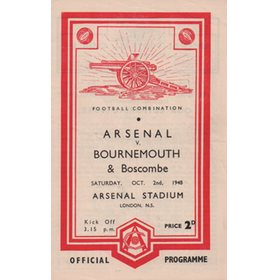 ARSENAL V BOURNEMOUTH AND BOSCOMBE 1948-49 FOOTBALL PROGRAMME