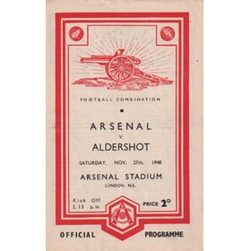 ARSENAL V ALDERSHOT 1948-49 FOOTBALL PROGRAMME