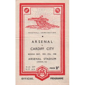 ARSENAL V CARDIFF CITY 1948-49 FOOTBALL PROGRAMME