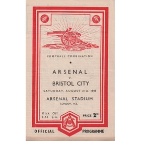 ARSENAL V BRISTOL CITY 1948-49 FOOTBALL PROGRAMME