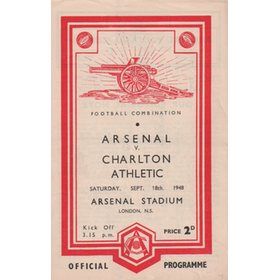 ARSENAL V CHARLTON ATHLETIC 1948-49 FOOTBALL PROGRAMME
