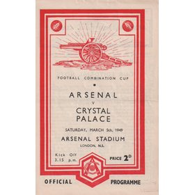 ARSENAL V CRYSTAL PALACE 1948-49 FOOTBALL PROGRAMME