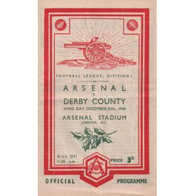 ARSENAL V DERBY COUNTY 1948-49 FOOTBALL PROGRAMME